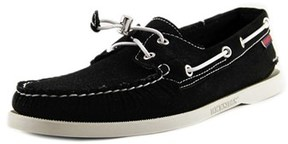 Sebago Docksides Men Moc Toe Synthetic Black Boat Shoe.