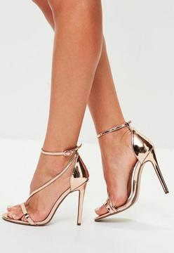 Missguided Rose Gold Strappy Sandals