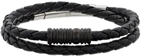 Lynx Men's Braided Black Leather Wrap Bracelet