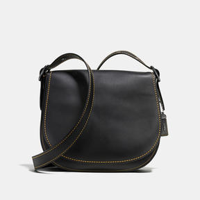 COACH Coach Saddle In Glovetanned Leather - BLACK COPPER/BLACK - STYLE