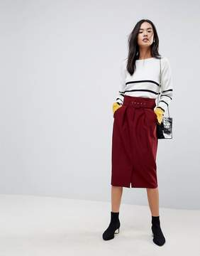Asos Tailored Pencil With Self Belt and Paperbag Waist Detail