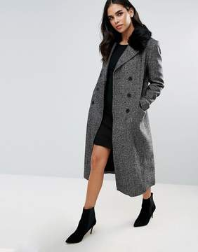 French Connection Rupert Tweed Faux Fur Collar Coat