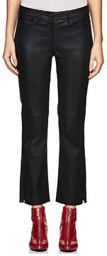 3x1 Women's Leather Crop Flared Jeans
