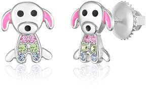 Swarovski Chanteur Jewelry White Gold Plated Sterling Silver Crystal Accent Dog Stud Earrings