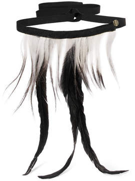 Ann Demeulemeester Two-tone Goat Hair And Feather Choker - Black