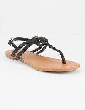 Soda Sunglasses Braided T-Strap Womens Sandals