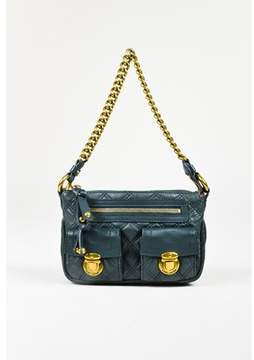Marc Jacobs Pre-owned Green Quilted Leather Gold Tone Chain Link Shoulder Bag.