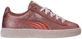 Puma Girls' Preschool Basket Holiday Glitz Casual Shoes