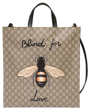 Gucci Men's Bee Supreme Gg Tote Bag - Beige