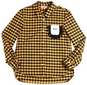 N°21 Embellished Cotton Flannel Shirt