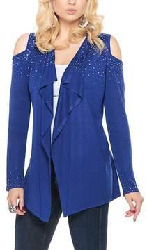 Belldini Royal Blue Drape Cold-Shoulder Open Cardigan - Women