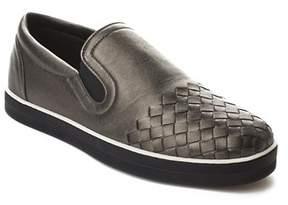 Bottega Veneta Women's Intrecciato Calf Sail Slip-on Sneakers Shoes Silver.