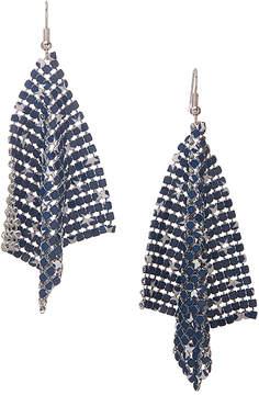 Carole Blue & Silvertone Stars Mesh Drop Earrings