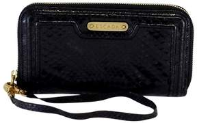 Escada Black Python Print Leather Wallet