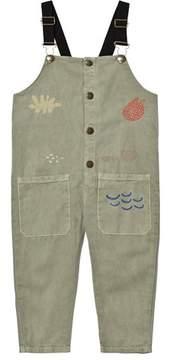 Bobo Choses Khaki Embroidered Dunagrees