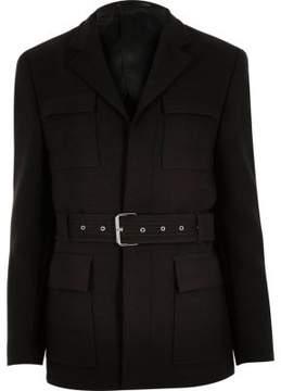 River Island Mens Dark brown slim belted jacket