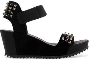 Pedro Garcia Fortuna Stud-embellished Leather And Suede Wedge Sandals - Black