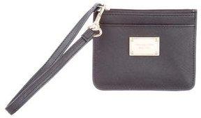 Michael Kors Leather Zip Wristlet - BLACK - STYLE