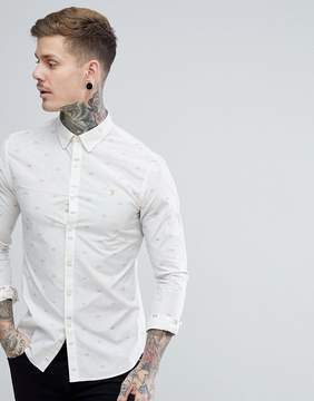 Farah Stovin Slim Fit Poplin Pattern Shirt in Beige