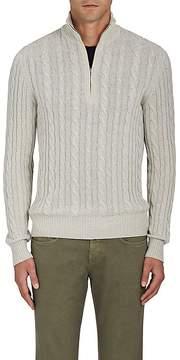 Loro Piana Men's Cable-Knit Cashmere Quarter-Zip Pullover
