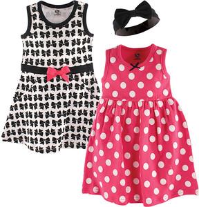 Hudson Baby Black & Pink Three-Piece Piece Dress & Headband Set - Newborn & Infant