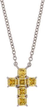 FANTASIA Asscher-Cut CZ Cross Pendant Necklace, Canary
