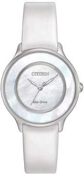 Citizen L EM0381-03D White Leather Analog Eco-Drive Women's Watch