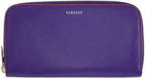 Versace Purple Logo Zip Around Wallet