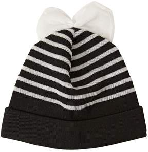 Federica Moretti Striped Cotton Blend Beanie Hat With Bow