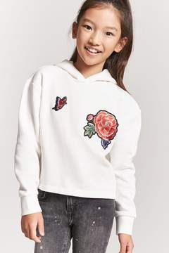 Forever 21 Girls Fleece Floral Pullover Hoodie (Kids)