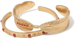 Danielle Nicole Pueblo Stone-Accented Goldtone Set of 2 Cuff Bracelets