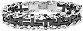 Lynx Two Tone Ion-Plated Stainless Steel Sideways Cross Railroad Bracelet - Men