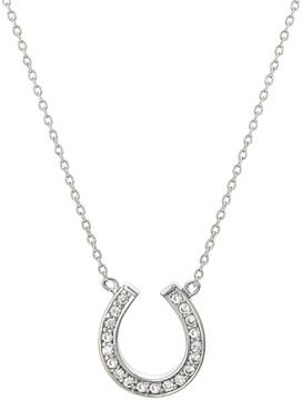 Crislu CZ Pave Mini Horseshoe Pendant Necklace