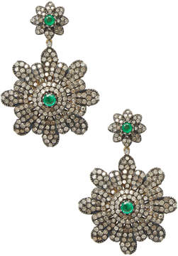 Artisan Women's 18K Gold Emerald & Diamond Flower Earrings