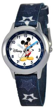 Disney Boys' Mickey Mouse Stainless Steel Time Teacher Watch - Blue
