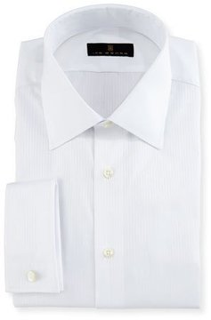 Ike Behar Gold Label Textured-Stripe Dress Shirt, White