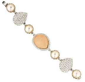 Isaac Mizrahi Faux Pearl, Resin & Crystal Bracelet