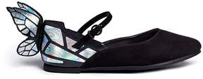 Sophia Webster 'Chiara Mini' holographic butterfly suede toddler Mary Jane flats