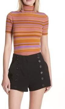 A.L.C. Doninico Stripe Turtleneck Stretch Wool Sweater