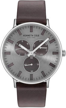 Kenneth Cole New York Men's Brown Leather Strap Watch 46mm KC14946001