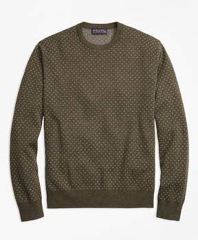 Brooks Brothers Supima® Cotton Cashmere Bird's-Eye Crewneck Sweater