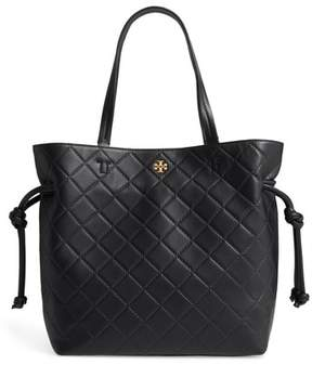 Tory Burch Georgia Slouchy Quilted Leather Tote - Black