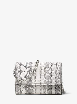 Michael Kors Yasmeen Small Snakeskin Clutch - NATURAL - STYLE