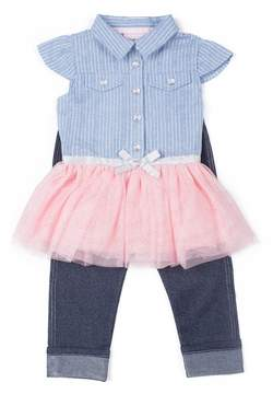 Little Lass Girls 4-6x Tulle Top & Capri Jeggings Set