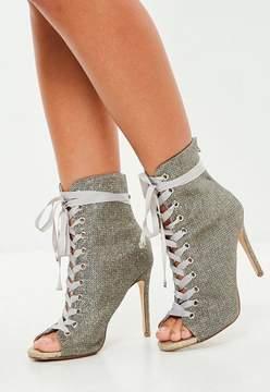 Missguided Carli Bybel x Purple Glitter Lurex Peep Toe Ankle Boot
