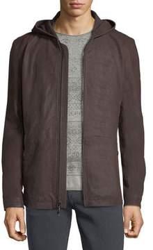 John Varvatos Leather Parka Jacket w/ Double-Closure Cuffs