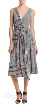 Derek Lam 10 Crosby Women's Print Pleated Silk Wrap Dress