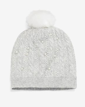 White House Black Market Hat with Faux Pearls