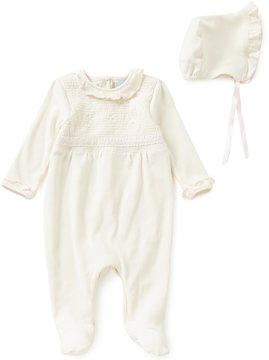 Edgehill Collection Baby Girls Newborn-6 Months Smocked Coverall & Bonnet Set