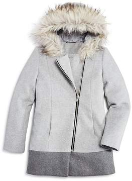 Aqua Girls' Asymmetrical-Zip Coat with Faux-Fur Trim, Big Kid - 100% Exclusive